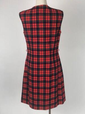 70's Plaid Button Front Jumper Dress