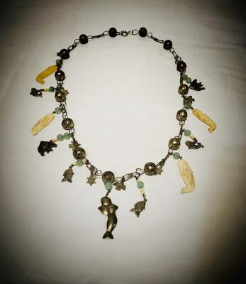 Vintage Tibetan Mermaid Charm Necklace