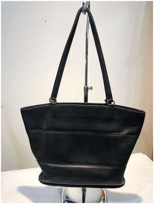 Vintage Coach Black Leather 9094 Zip Tote Shoulder Bag