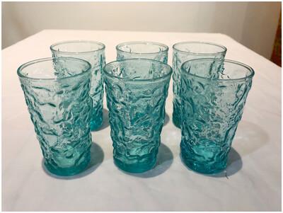 Vintage Aqua Juice Glasses, Set Of Six
