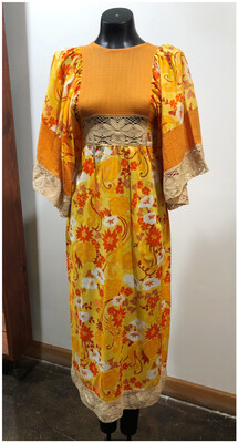 1960's Flower Power Dress With Drop Sleeves