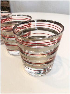Vintage Red & Silver Striped Lowball Glasses