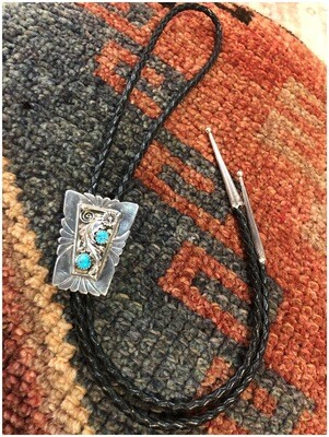 Vintage Sterling With Turquoise Signed Bolo Tie