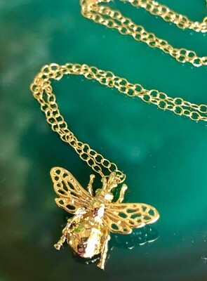 14kt. Gold Filled Chain, Gold Plated Honey Bee With Lace Wings, 18""