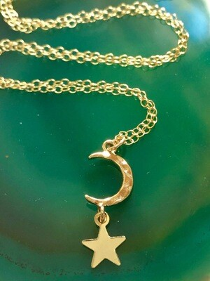 Handmade 14kt. Gold Filled Chain With Petite Gold Plated Crescent Moon And Star