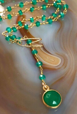 Handmade Adjustable Green Chalcedony Gemstone Rosary Chain Necklace With Gold Plated Hook & Petite Chalcedony Pendant, Gold Plated, 18""