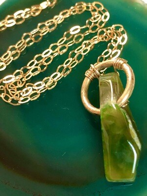 """Handmade 14kt Gold Filled Chain With Green Agate Gemstone With Vintage Gold Accent, 22"""""""
