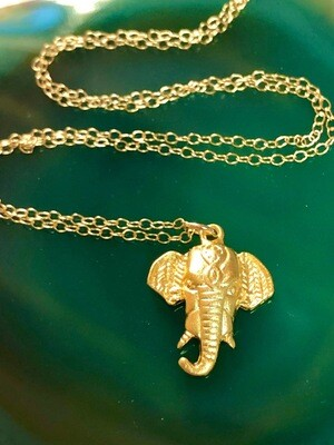 14kt Gold Filled Chain With Brushed Gold Plated Elephant Pendant, 18""