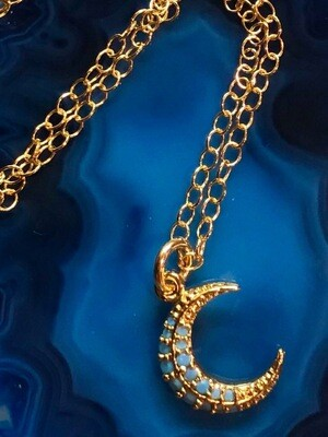 """Handmade 14kt Gold Filled Chain Necklace With Gold Plated Petite Crescent Moon, 18"""""""