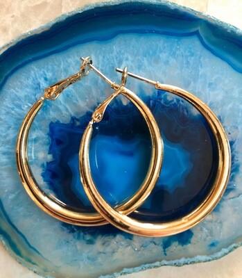 """Vintage Gold Hoops, 1"""""""