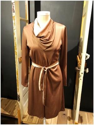 Vintage 1980's Cowl Neck Belted Dress
