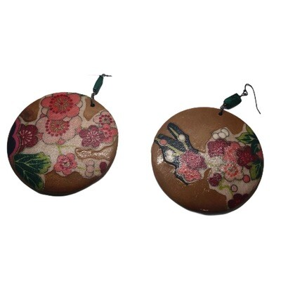 Wood Decoupage Earring Hawaiian Earrings