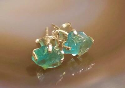 Aqua Marine Sterling Silver Post Earrings