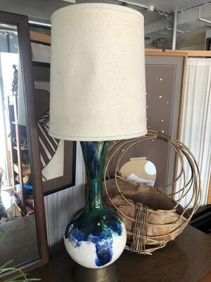 Mid Century Ceramic Lamp With Original Shade