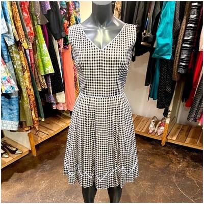 Vintage 1960's handmade Sleeveless Gingham Dress With Lilac Trim