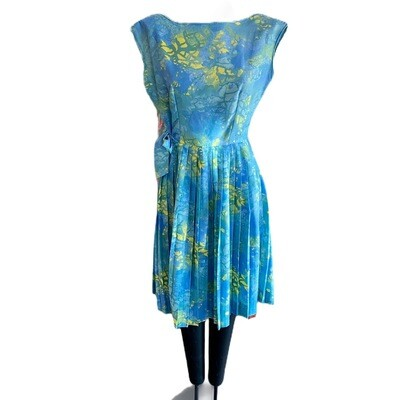 Vintage 1950's Cresta Couture Cotton Dress With Shoulder Wrap