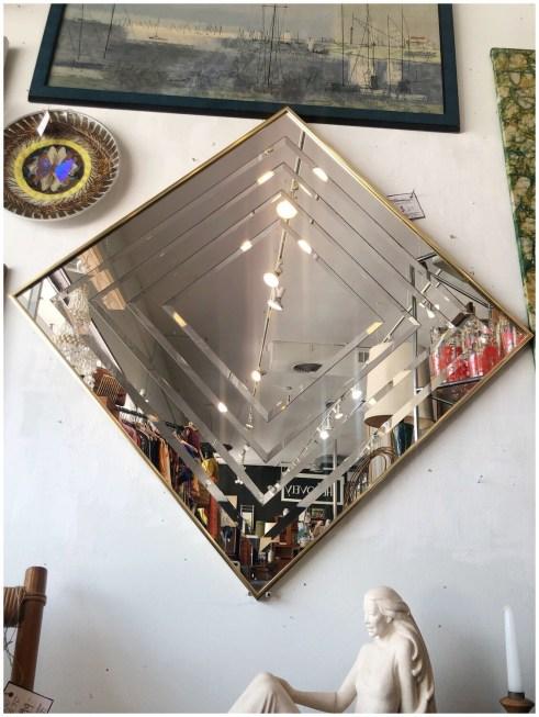 Vintage 1980's Diamond Beveled Mirror