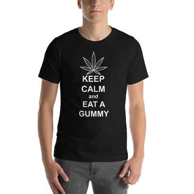 Keep Calm Gummy White Print Short-Sleeve Unisex T-Shirt