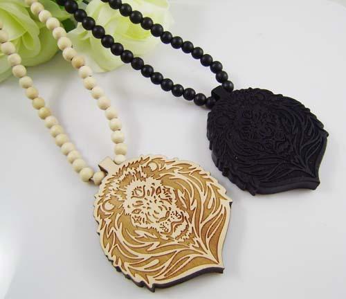 Lion Face Wooden Necklace
