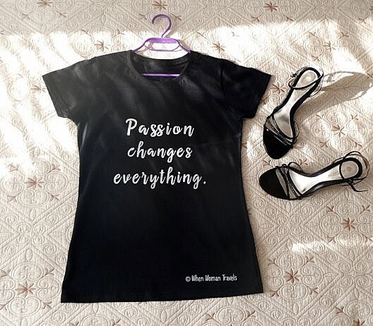PASSION changes everything. Women's tee black