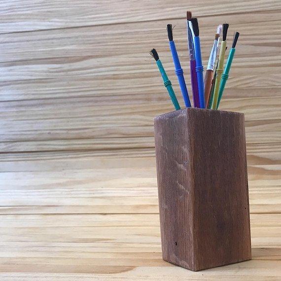 Rustic Wooden Pencil Holder | Wooden Pen Holder | Wooden Organizer | Crochet Hook Holder | Pencil Cup | Marker Holder