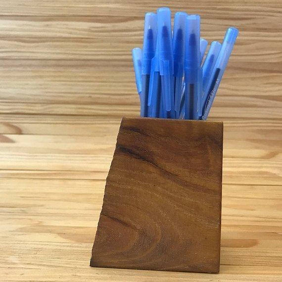 Rustic Wooden Pencil Holder   Wooden Pen Holder   Wooden Organizer   Crochet Hook Holder   Pencil Cup   Marker Holder