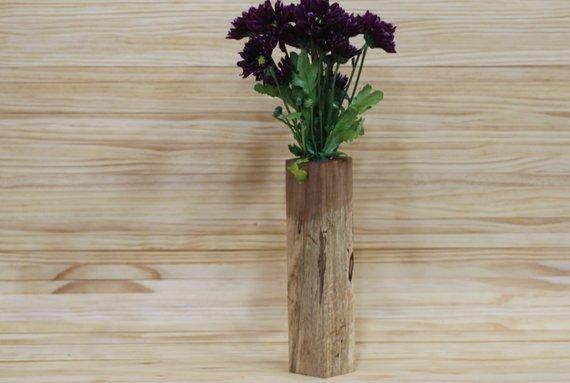 Unique Wooden Flower Vase | Hand Crafted Bud Vase | Decorative Vase | Wooden Bud Vase