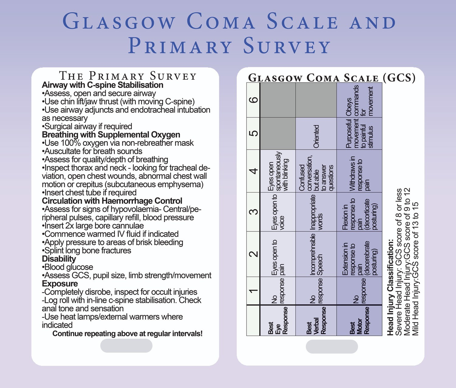 Glasgow Coma Scale Gcs And Primary Survey
