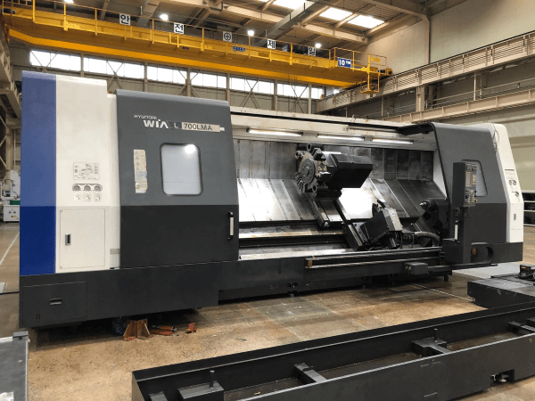 "1 – USED 41"" X 128"" HYUNDIA WIA L700LMA SLANT BED CNC LATHE WITH LIVE TOOLING C-5755"