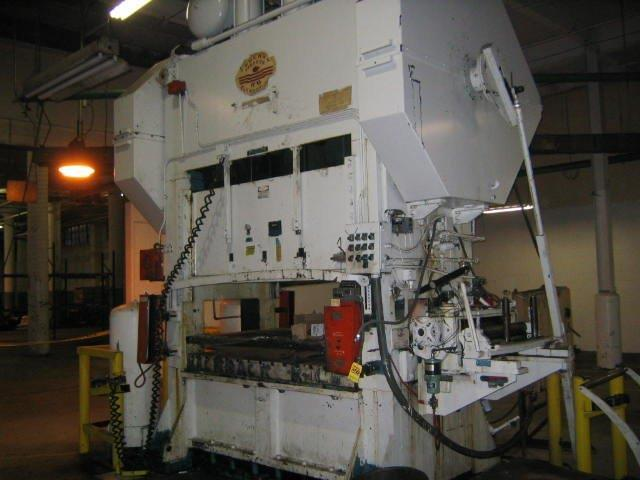 1 – USED 200 TON FEDERAL STRAIGHT SIDE D.C. TWIN DRIVE DOUBLE BACK GEARED PUNCH PRESS 14271