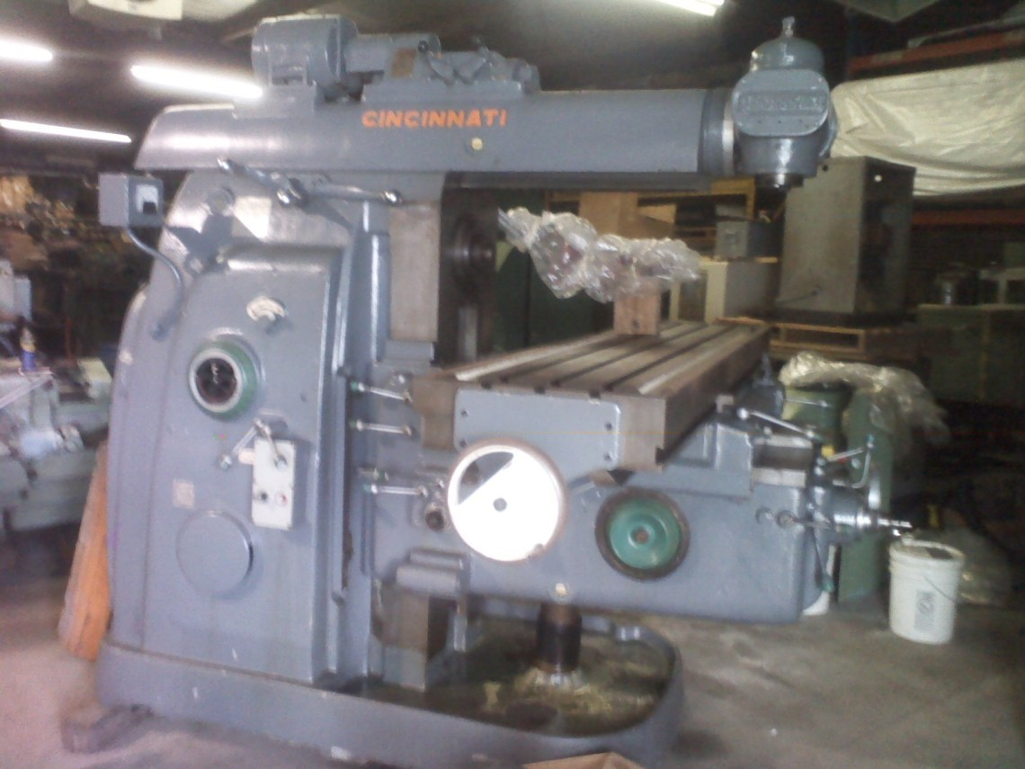 1 – USED MODEL #5 CINCINNATI COMBINATION HORIZONTAL/VERTICAL MILL WITH POWER OVERARM