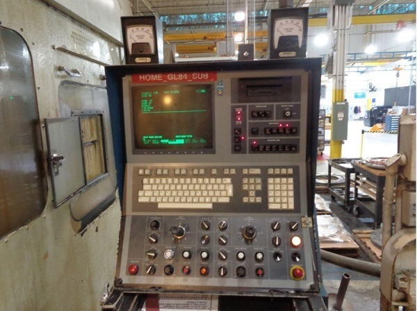 "1 – USED 84"" GIDDINGS & LEWIS CNC VERTICAL BORING MILL WITH LIVE MILL/DRILL SPINDLE"