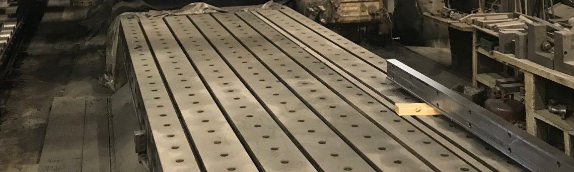 "​1 – USED 68"" X 30' CAST IRON T-SLOTTED FLOOR PLATE C-5507"