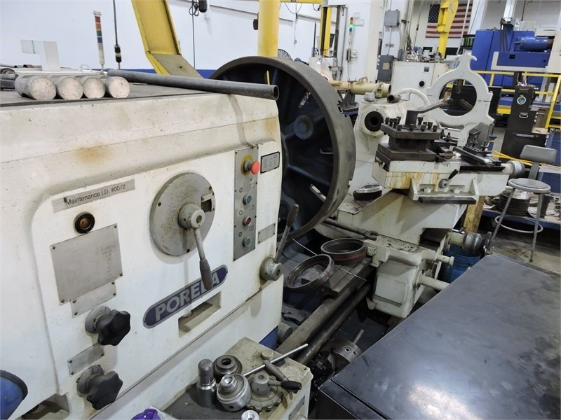 "1 – USED 60"" X 200"" POREBA GAP BED ENGINE LATHE"