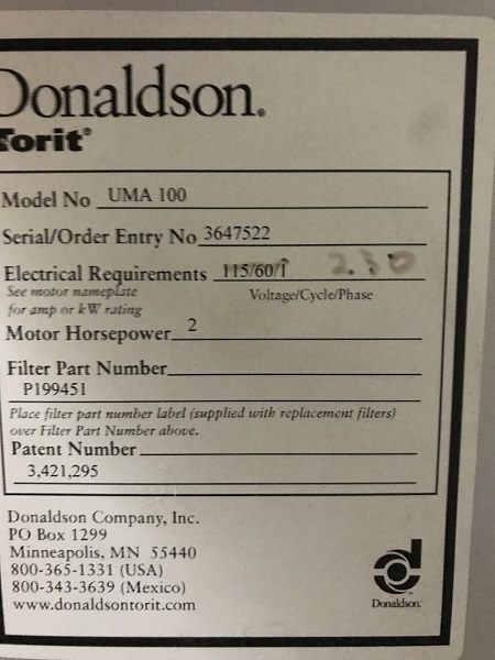 1 – USED 600 CFM DONALDSON/TORIT DUST COLLECTOR