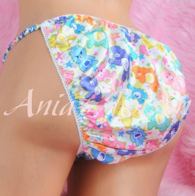Ania's Poison Care Bear Rainbow Print Super Rare 100% polyester SATIN string bikini sissy mens underwear panties