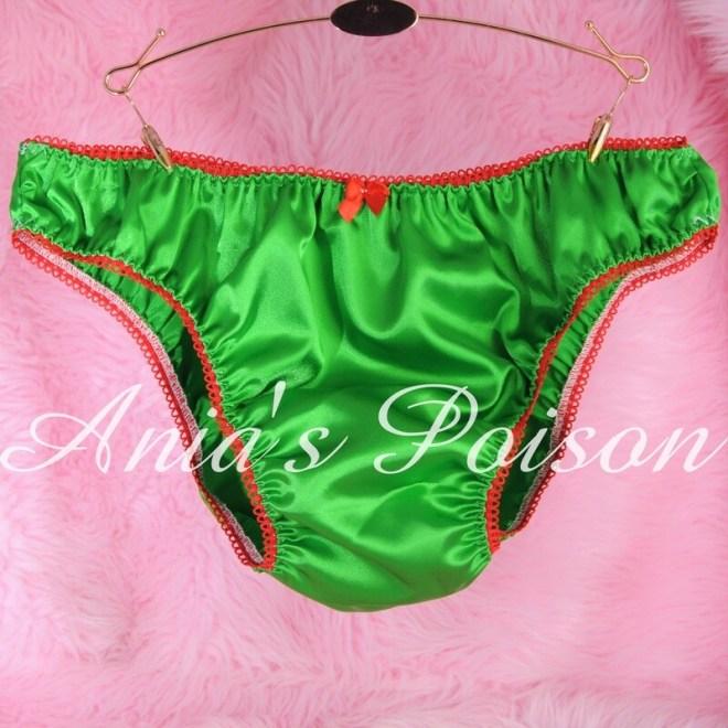 Ania's Poison SATIN Christmas Collection GREEN mens Sissy shiny High Gloss Full bikini panties S- XXL