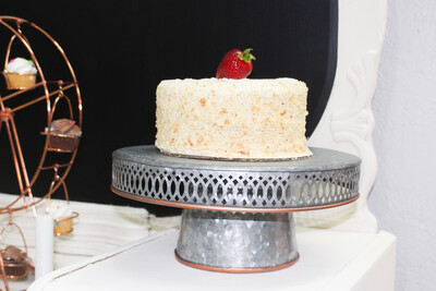 Tin Cake Stand with Rose Gold Trim