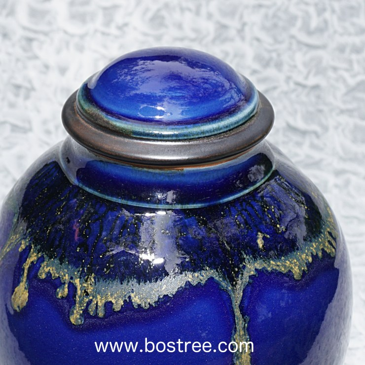Lidded blue handmade porcelain vessel - top