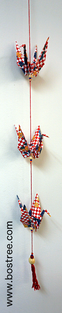 Three Crane Origami Mobile - Red Checkered OR00014
