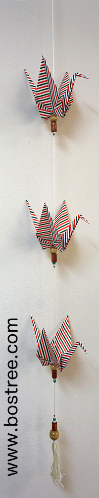 Three Crane Origami Mobile - Green, Red, and White Striped OR00017