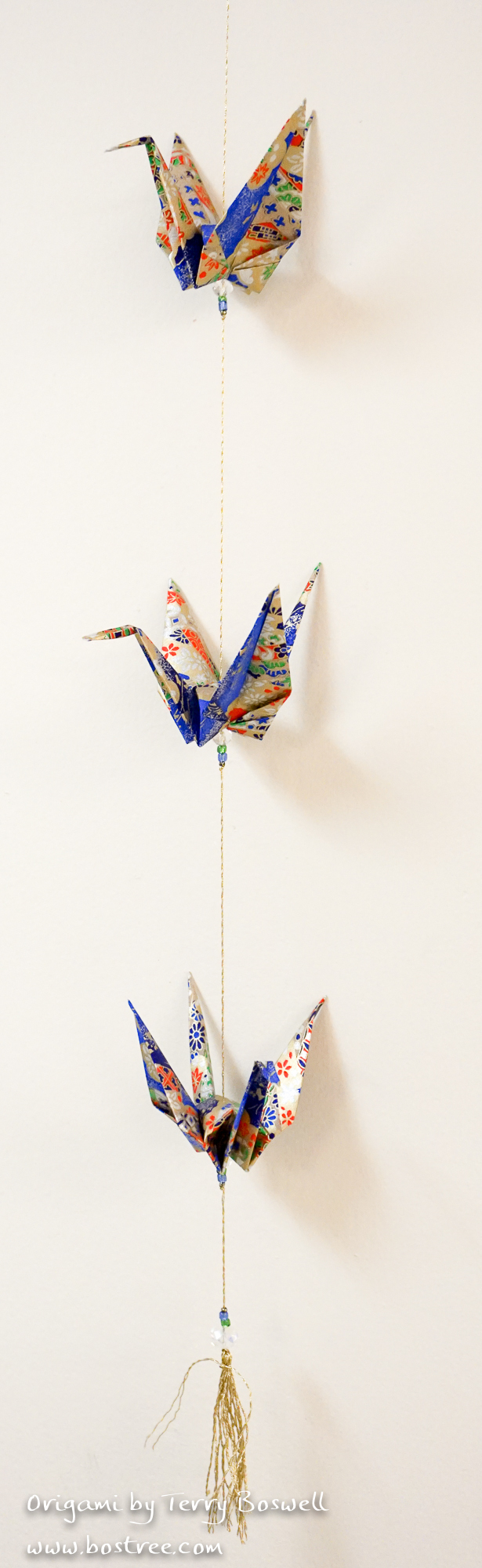 Three Crane Origami Mobile - Blue, Gold, Red OR00027