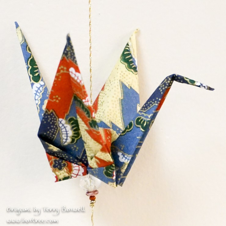 Three Crane Origami Mobile - Blue, Rust, Beige, Gold