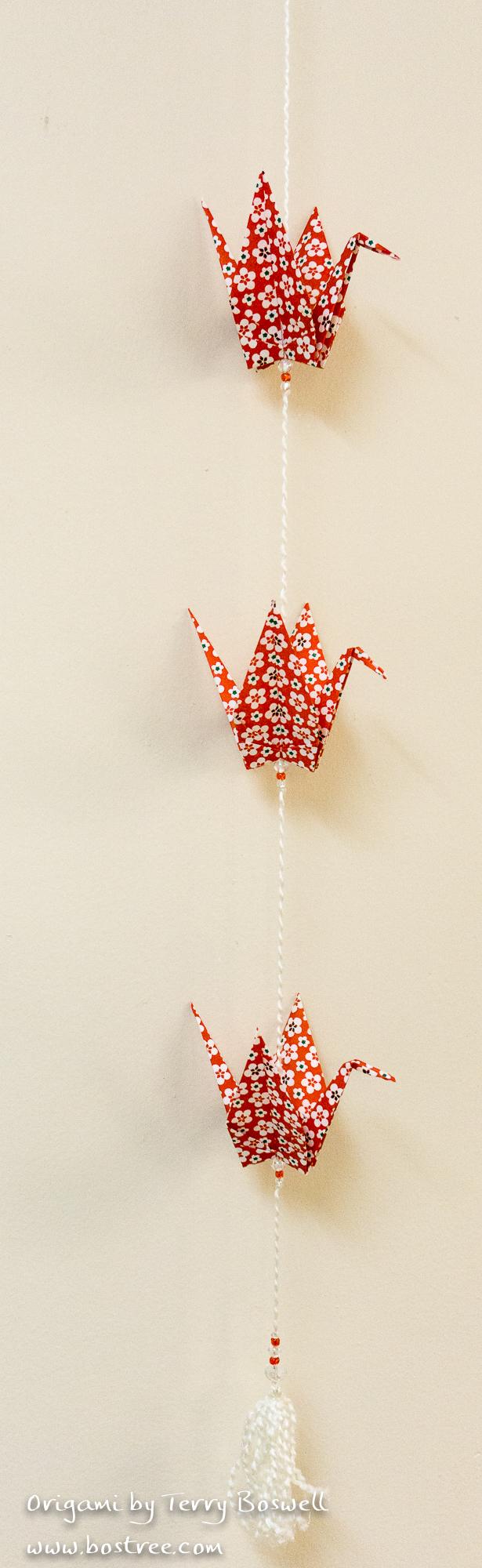 Three Crane Origami Mobile - Red, White OR00031