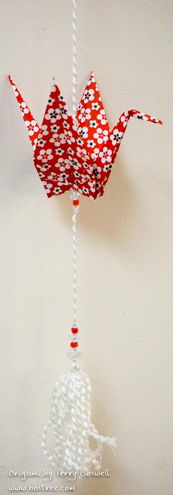 Three Crane Origami Mobile - Red, White