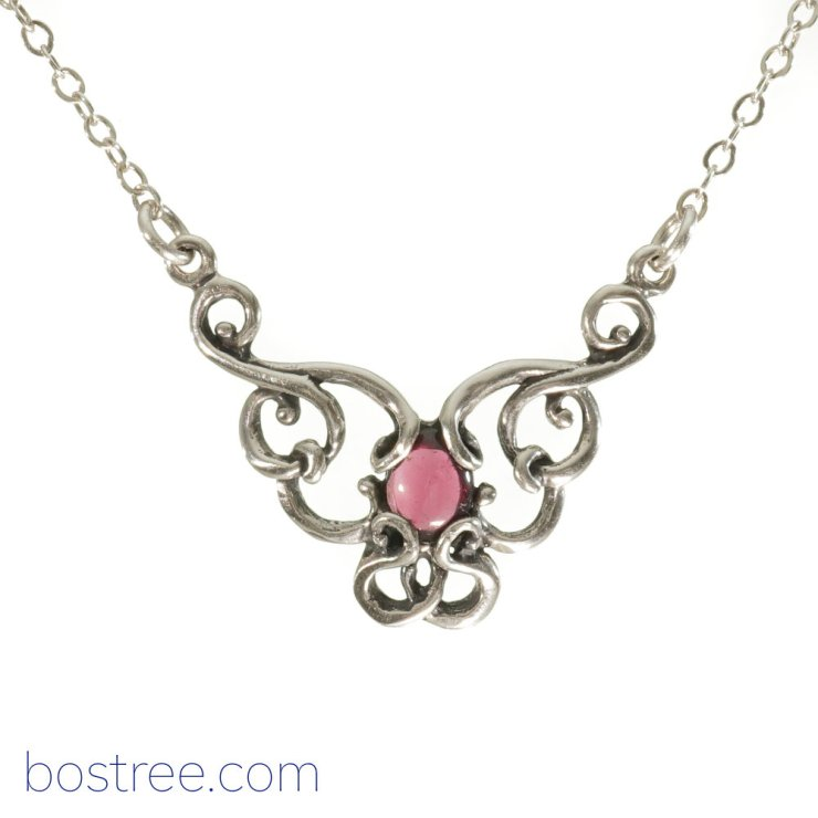 Victorian Necklace - Sterling Silver & Garnet RP00061