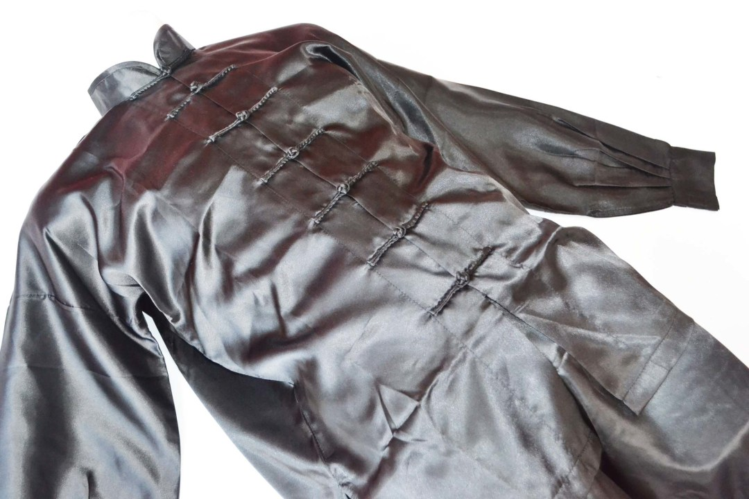 Uniforme Wushu y Taiji Quan negro fabricado en poliseda 00075