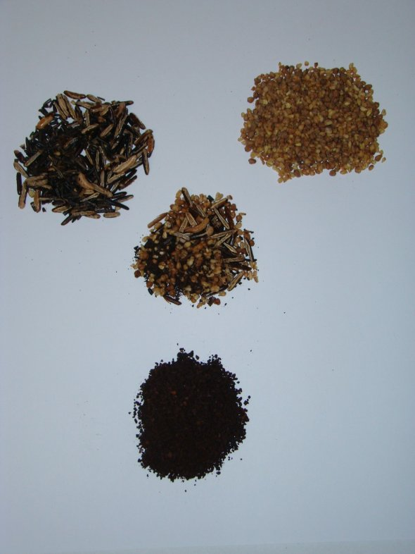Ersatz® ingredients-(clockwise from upper left)-Roasted wild rice, Roasted buckwheat, & Roasted chicory. Center-all 3 combined in Ersatz®.
