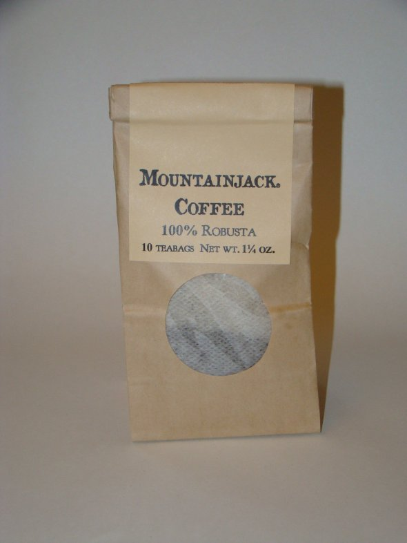 Mountainjack® Coffee---Pkg. of 10 teabags, showing front of pkg.
