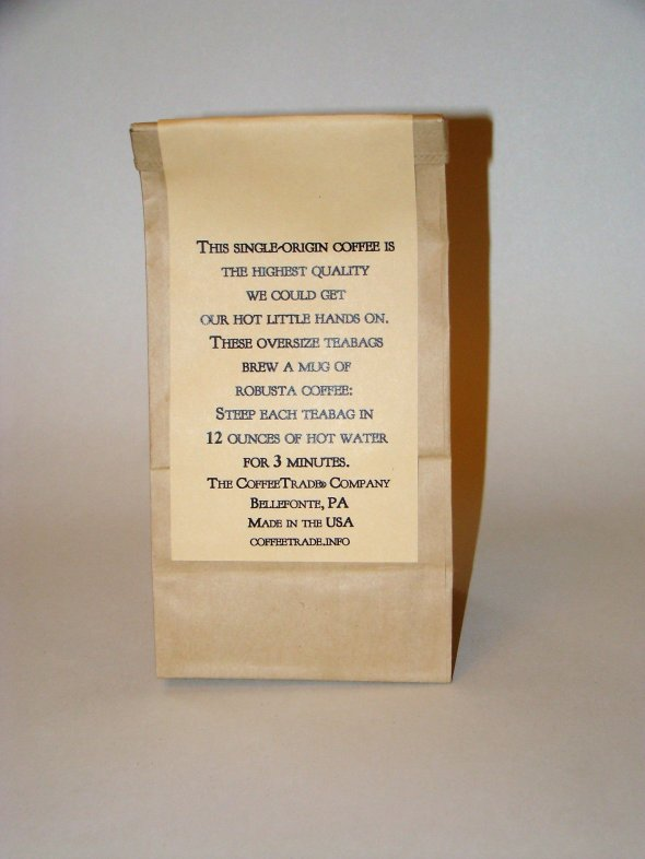 Mountainjack® Coffee---Pkg. of 10 teabags, showing back of pkg.